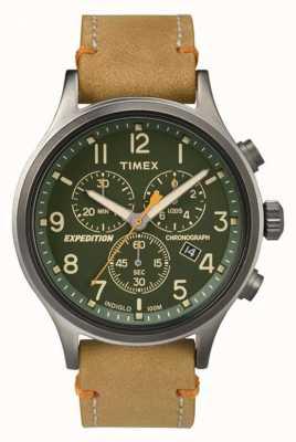 Timex 男士童军计时码表绿色表盘 TW4B04400