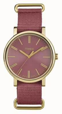 Timex 中性玫瑰表盘玫瑰色织物表带 TW2P78200