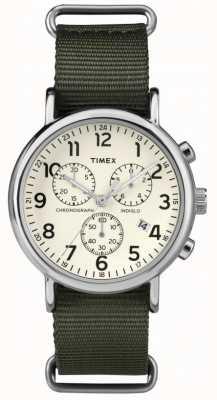 Timex 中性周末计时码表奶油拨号 TW2P71400