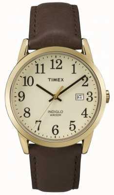 Timex 男士Easy Reader奶油色表盘皮革表带 TW2P75800