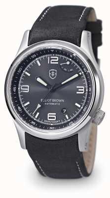 Elliot Brown 男士tyneham黑色真皮表带黑色表盘 305-005-L15