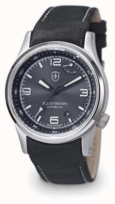Elliot Brown 男士tyneham灰色皮革黑色表盘展示底盖 305-D05-L15