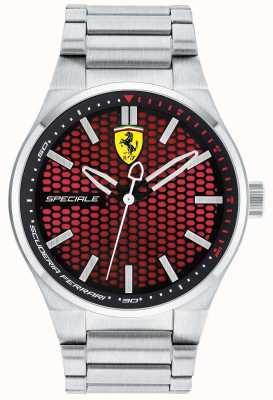 Scuderia Ferrari 男士特殊不锈钢表链红色表盘 0830357