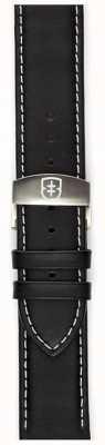 Elliot Brown 只有男士22毫米黑色油皮革展开式表带 STR-L02