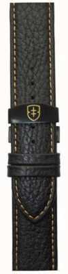 Elliot Brown 男士22毫米黑色鹅卵石皮革展开式棕褐色表带 STR-L11