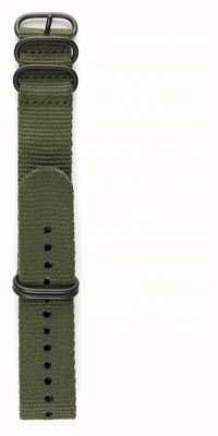 Elliot Brown 男装22毫米橄榄弹道尼龙枪金属五金表带 STR-N01