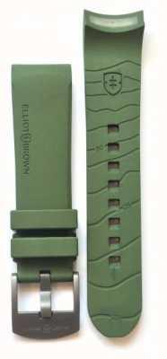 Elliot Brown 男装22毫米绿色橡胶青铜色舌头扣表带仅 STR-R04