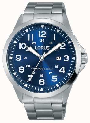 Lorus 男士精钢表链蓝色表盘 RH925GX9