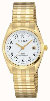 Pulsar 女式金色不锈钢白色表盘 PH7444X1