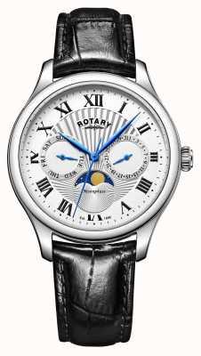 Rotary 男士月相黑色真皮表带银色表盘 GS05065/01