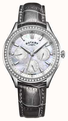Rotary 女士汉普斯蒂德灰色皮革表带珍珠母贝表盘 LS05056/07