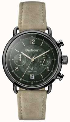 Barbour 男士salisbury卡其色皮革表带绿色表盘 BB053GRKH