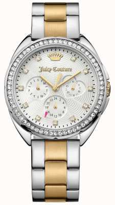 Juicy Couture 女士卡普里二色调不锈钢表链银色表盘 1901481