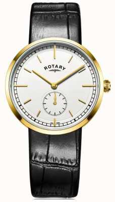 Rotary 男士坎特伯雷黑色皮革表带白色表盘 GS05062/02