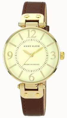 Anne Klein 女式棕色真皮表带金色表盘 10/N9168IVBN