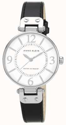 Anne Klein 女士黑色皮革表带白色表盘 10/N9169WTBK