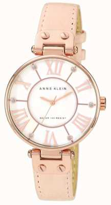 Anne Klein 女装粉色真皮表带奶油表盘 10/N9918RGLP
