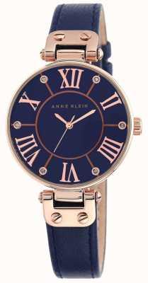 Anne Klein 女式蓝色皮革表带蓝色表盘 10/N9918RGNV