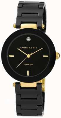Anne Klein 女式黑色陶瓷表带黑色表盘 AK/N1018BKBK