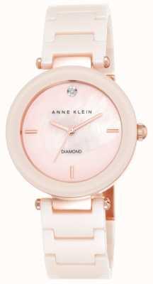 Anne Klein 女式粉色陶瓷表带粉红色珍珠贝母表盘 AK/N1018PMLP