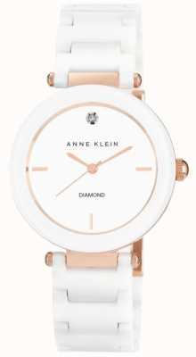 Anne Klein 女装白色陶瓷表带白色表盘 AK/N1018RGWT