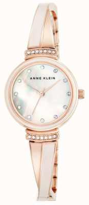 Anne Klein 女式玫瑰金色调手镯珍珠母贝表盘 AK/N2216BLRG