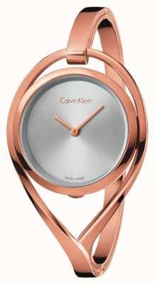 Calvin Klein 女士轻中号玫瑰金色调手镯银表盘 K6L2M616