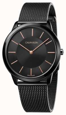 Calvin Klein 男士最小手表 黑色不锈钢网带  K3M21421