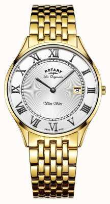 Rotary 男士超薄金色不锈钢白色表盘 GB90803/01