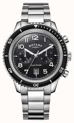 Rotary 男士海洋复仇者计时码表黑色表盘 GB05021/04