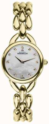 Michel Herbelin 珍珠立方氧化锆表盘的女人瀑布母亲 17475/BP59