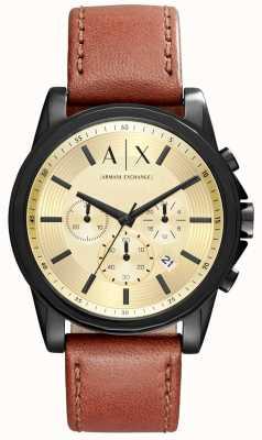 Armani Exchange 男士计时码表棕色皮革表带 AX2511