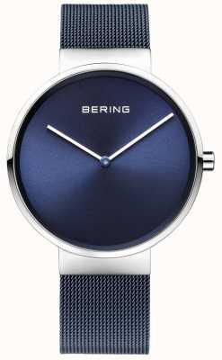 Bering 男女皆宜的蓝色镀铁钢网肩带39毫米 14539-307