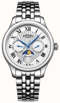 Rotary 男士月相不锈钢银色手表 GB05065/01