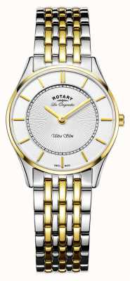 Rotary 女人超薄手表|双色不锈钢/ pvd带| LB90801/41
