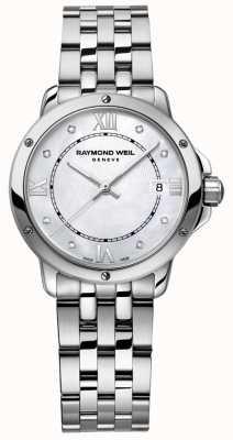 Raymond Weil 女士探戈不锈钢圆点钻石珍珠母贝 5391-ST-00995