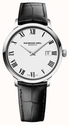 Raymond Weil 男士细长的白色黑色皮革 5488-STC-00300