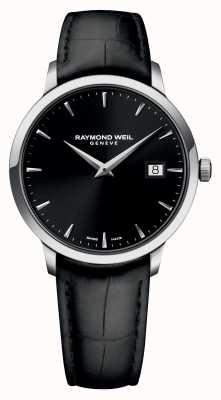 Raymond Weil 男士修身黑色黑色皮革 5488-STC-20001