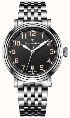 Dreyfuss不锈钢1924表链黑色表盘 DGB00152/19