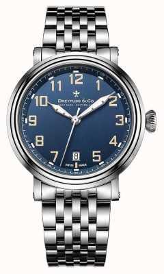 Dreyfuss男士不锈钢1924表链蓝色表盘 DGB00152/52