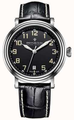 Dreyfuss不锈钢男士1924黑色皮革表带 DGS00152/19
