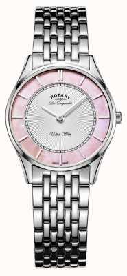 Rotary 女士不锈钢手链粉色珍珠母贝表盘 LB90800/07