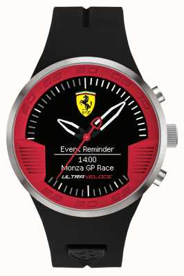 Scuderia Ferrari 男士黑色橡胶表带黑色红色 0830373