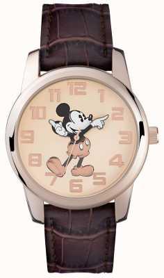 Disney Adult 米奇鼠标玫瑰金表壳棕色表带 MK1459