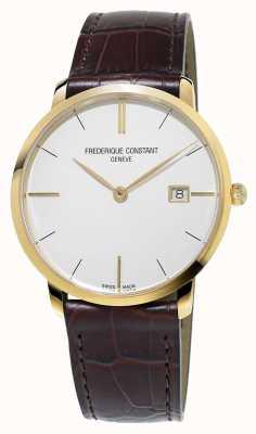 Frederique Constant 男士修身线条棕色真皮表带 FC-220V5S5