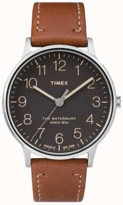 Timex 男士waterbury经典黑色表盘棕色表带 TW2P95800