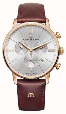 Maurice Lacroix Eliros 40毫米男士手表棕色皮革玫瑰金镀金 EL1098-PVP01-111-1