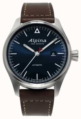 Alpina 男士startimer自动棕色真皮表带蓝色表盘 AL-525N4S6