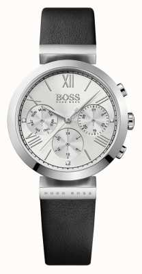 Hugo Boss 女装经典运动黑色真皮表带银色表盘 1502395