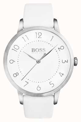Hugo Boss 女式日食白色皮革表带白色表盘 1502409